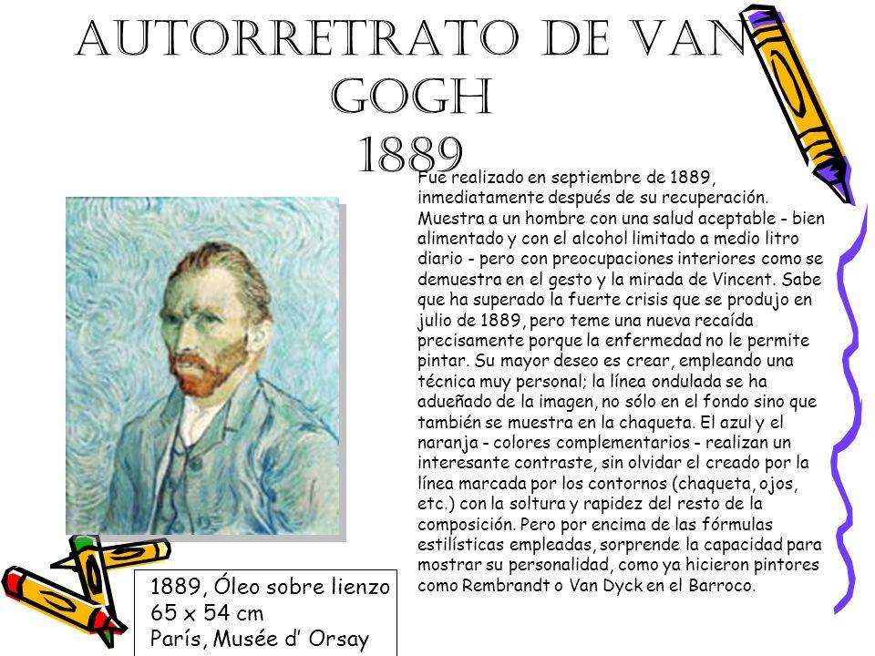AUTORRETRATO DE VAN GOGH 1889 Fue realizado en septiembre de 1889, inmediatamente después de su recuperación. Muestra a un hombre con una salud acepta