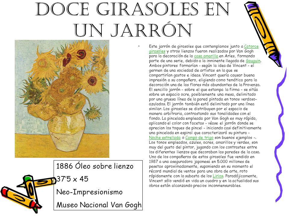 DOCE GIRASOLES EN UN JARRÓN Este jarrón de girasoles que contemplamos junto a Catorce girasoles y otros lienzos fueron realizados por Van Gogh para la