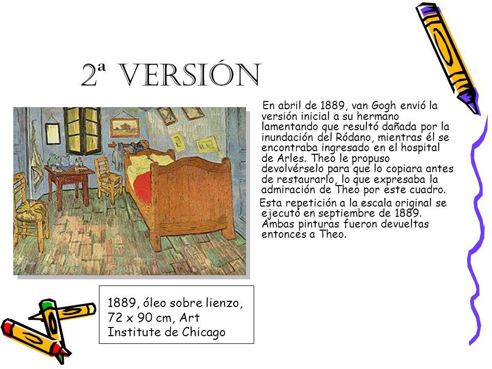 3ª VERSIÓN Cuando Van Gogh, finalmente, en el verano de 1889, decidió rehacer algunas de sus «mejores» composiciones en un tamaño menor para su madre y su hermana Wil, El dormitorio se encontraba entre los que escogió.