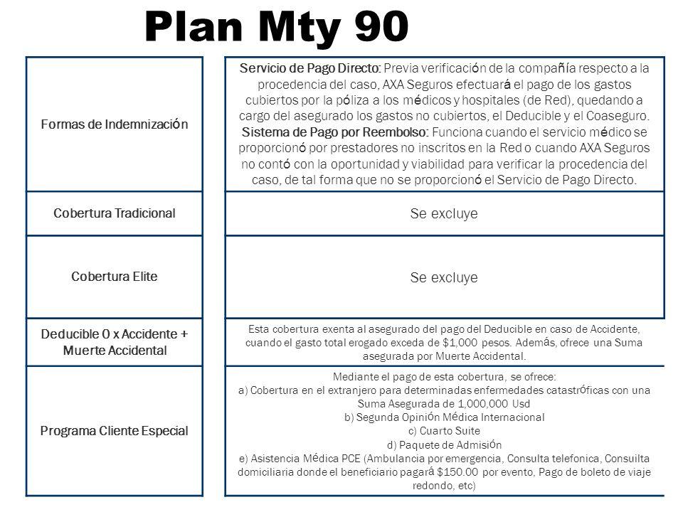 Plan Mty 90 Formas de Indemnizaci ó n Servicio de Pago Directo: Previa verificaci ó n de la compa ñí a respecto a la procedencia del caso, AXA Seguros