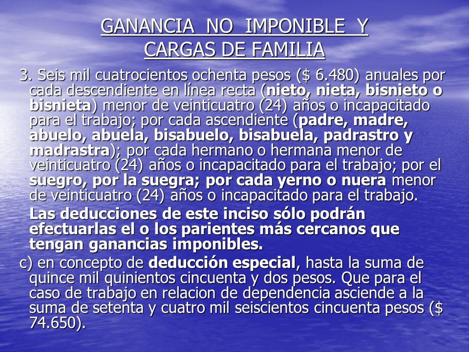 GANANCIA NO IMPONIBLE Y CARGAS DE FAMILIA 3.