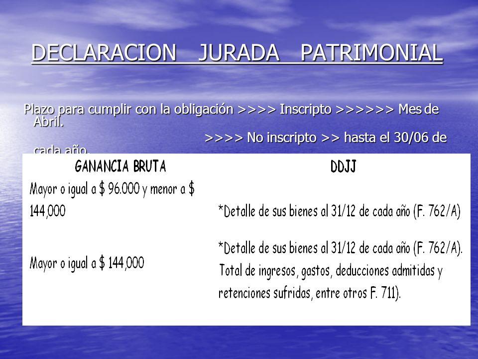 DECLARACION JURADA PATRIMONIAL Plazo para cumplir con la obligación >>>> Inscripto >>>>>> Mes de Abril.