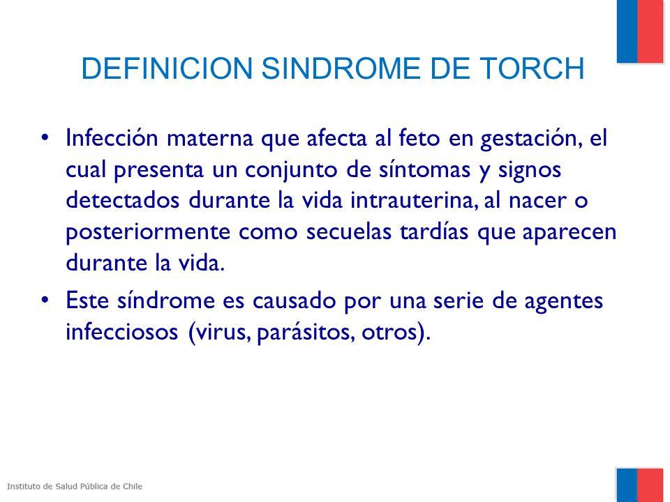 DEFINICION SINDROME DE TORCH Infección materna que afecta al feto en gestación, el cual presenta un conjunto de síntomas y signos detectados durante la vida intrauterina, al nacer o posteriormente como secuelas tardías que aparecen durante la vida.