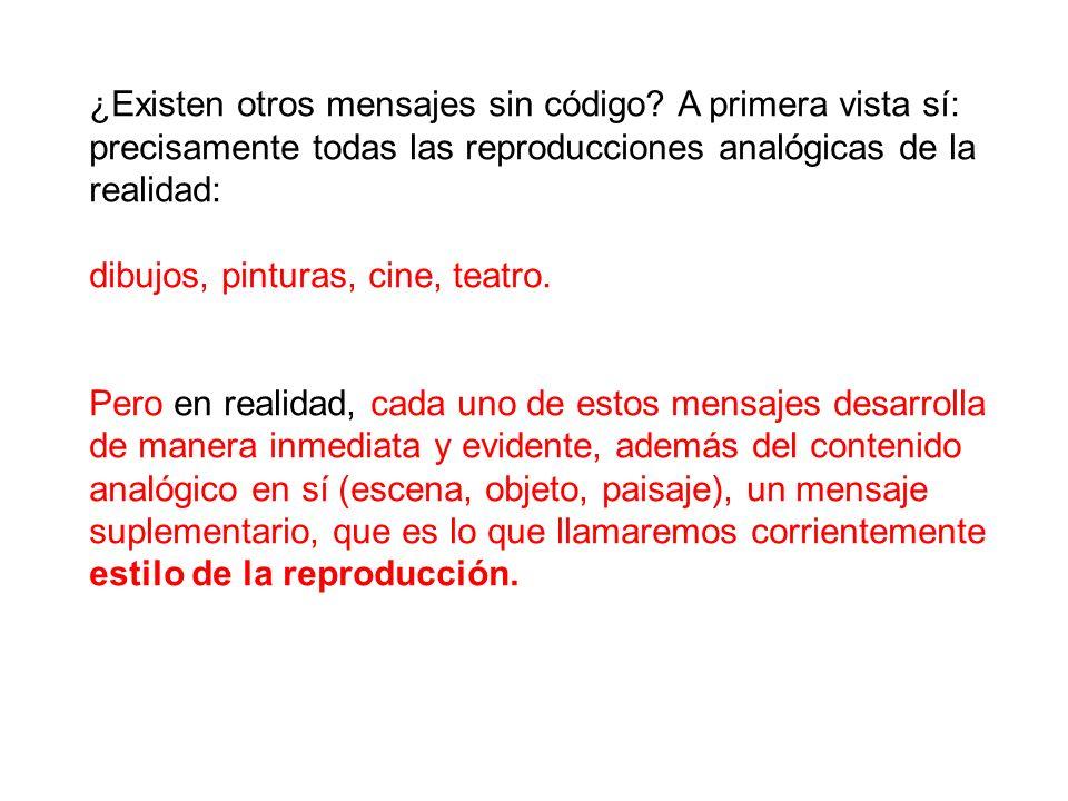 En suma, todas las imitativas contienen dos mensajes: -un mensaje denotado que es el analogon en sí, ((denotar (Del lat.