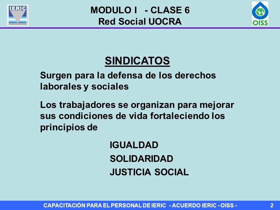CAPACITACIÓN PARA EL PERSONAL DE IERIC - ACUERDO IERIC - OISS -2 SINDICATOS Surgen para la defensa de los derechos laborales y sociales Los trabajadores se organizan para mejorar sus condiciones de vida fortaleciendo los principios de IGUALDAD SOLIDARIDAD JUSTICIA SOCIAL MODULO I - CLASE 6 Red Social UOCRA