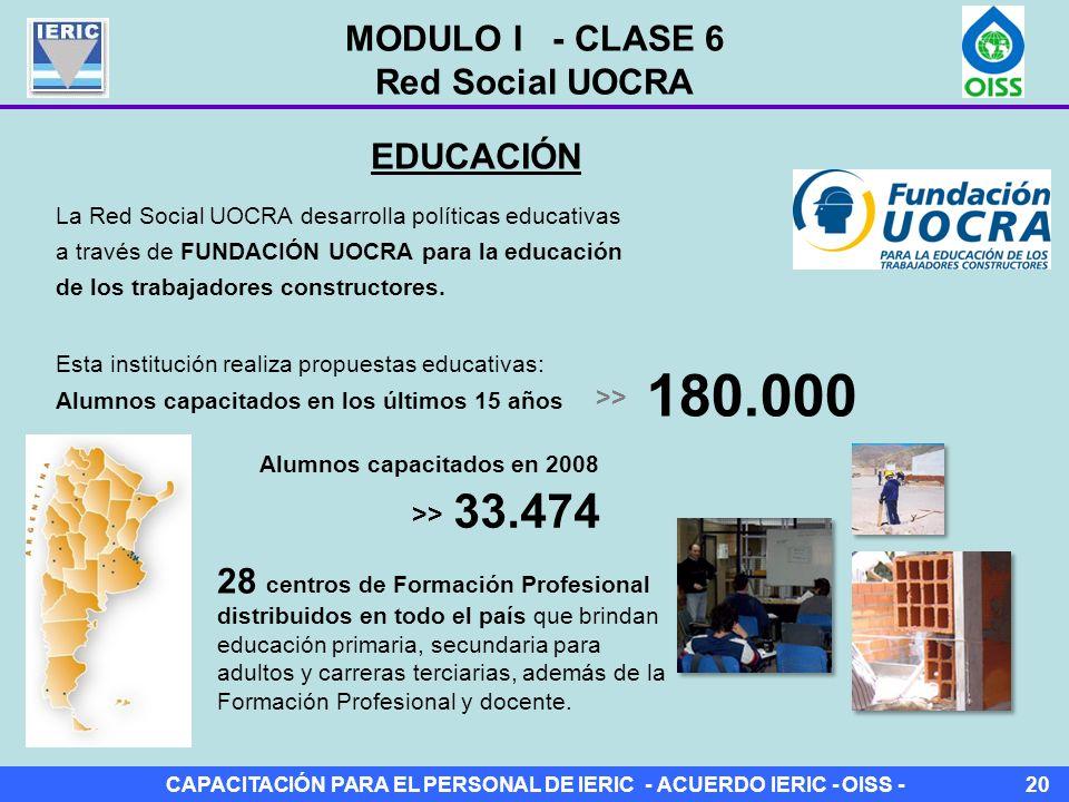 CAPACITACIÓN PARA EL PERSONAL DE IERIC - ACUERDO IERIC - OISS -20 La Red Social UOCRA desarrolla políticas educativas a través de FUNDACIÓN UOCRA para la educación de los trabajadores constructores.