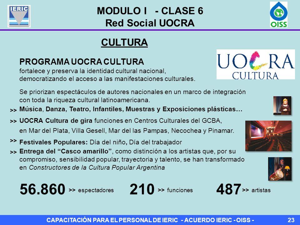 CAPACITACIÓN PARA EL PERSONAL DE IERIC - ACUERDO IERIC - OISS -23 CULTURA PROGRAMA UOCRA CULTURA fortalece y preserva la identidad cultural nacional, democratizando el acceso a las manifestaciones culturales.