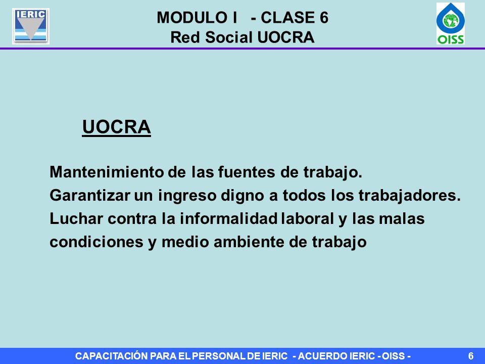 CAPACITACIÓN PARA EL PERSONAL DE IERIC - ACUERDO IERIC - OISS -6 Mantenimiento de las fuentes de trabajo.