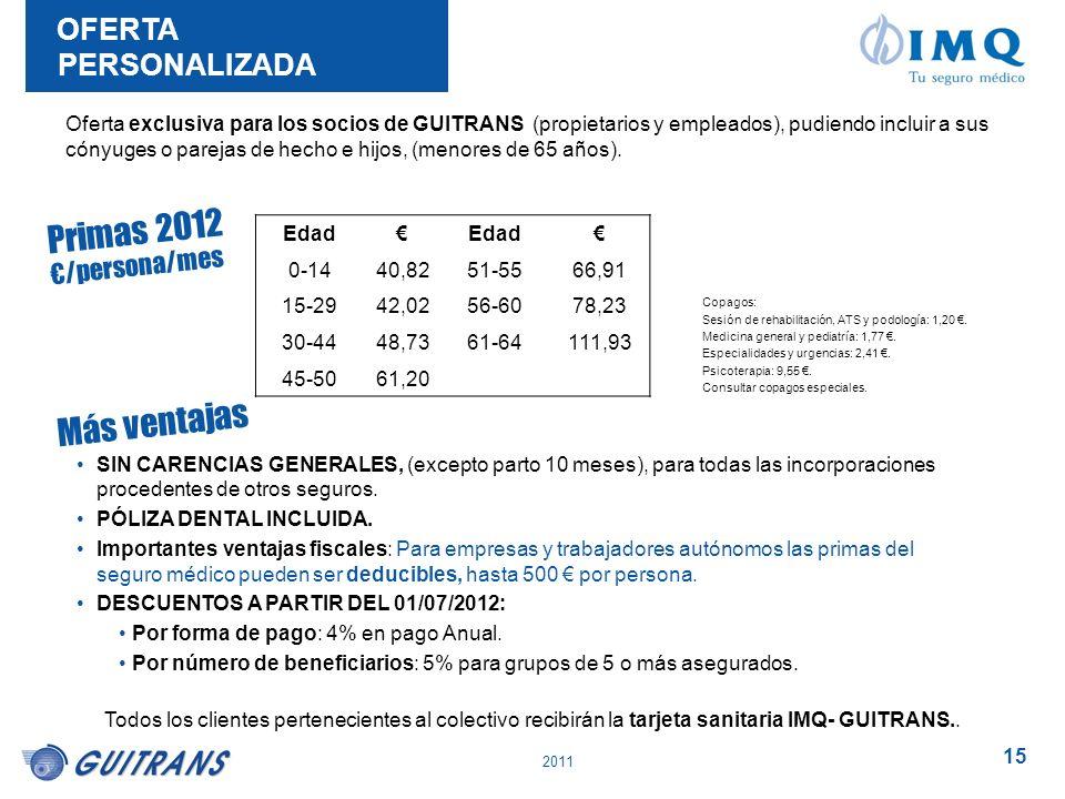 2011 15 SIN CARENCIAS GENERALES, (excepto parto 10 meses), para todas las incorporaciones procedentes de otros seguros. PÓLIZA DENTAL INCLUIDA. Import