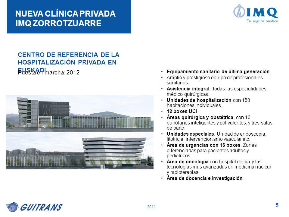 2011 5 NUEVA CLÍNICA PRIVADA IMQ ZORROTZUARRE CENTRO DE REFERENCIA DE LA HOSPITALIZACIÓN PRIVADA EN EUSKADI Puesta en marcha: 2012 Equipamiento sanita