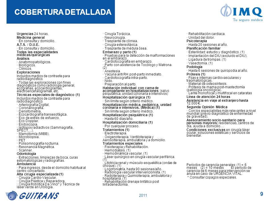 2011 9 Urgencias 24 horas. Medicina general · En consulta y domicilio. A.T.S. / D.U.E. · En consulta y domicilio. Todas las especialidades médicas/qui
