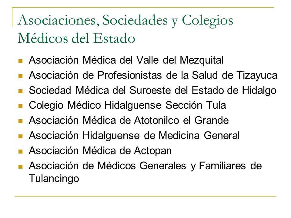 Asociaciones, Sociedades y Colegios Médicos del Estado Asociación Médica del Valle del Mezquital Asociación de Profesionistas de la Salud de Tizayuca
