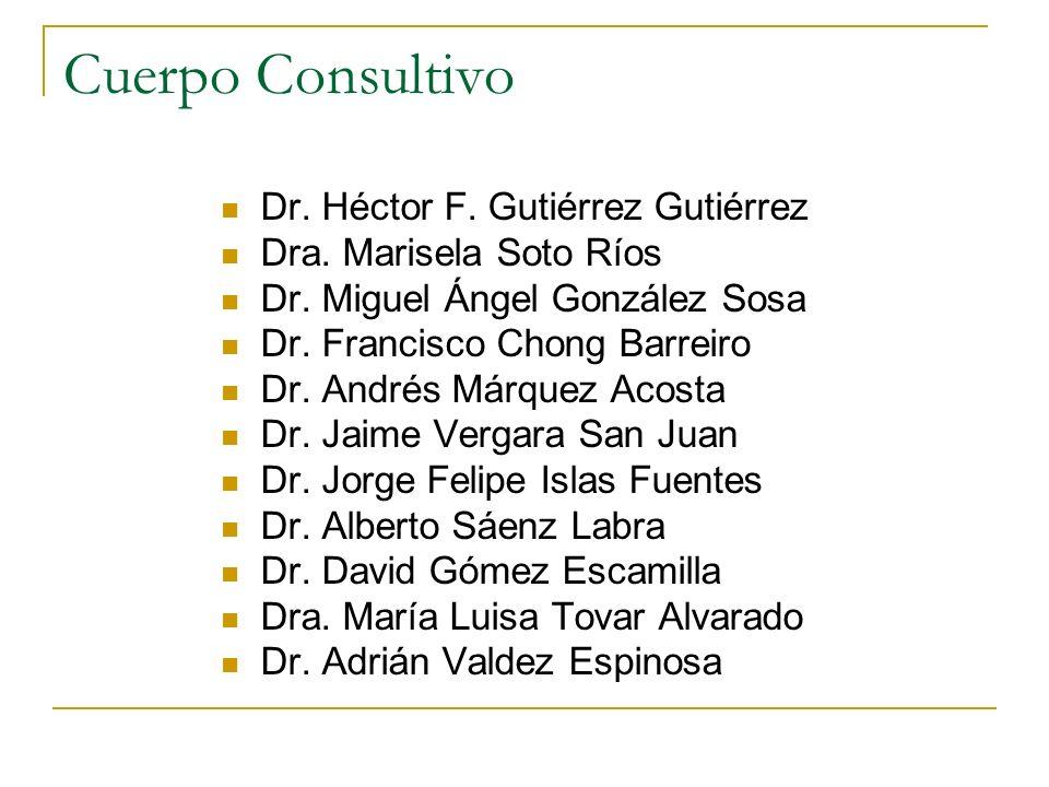 Cuerpo Consultivo Dr. Héctor F. Gutiérrez Gutiérrez Dra. Marisela Soto Ríos Dr. Miguel Ángel González Sosa Dr. Francisco Chong Barreiro Dr. Andrés Már