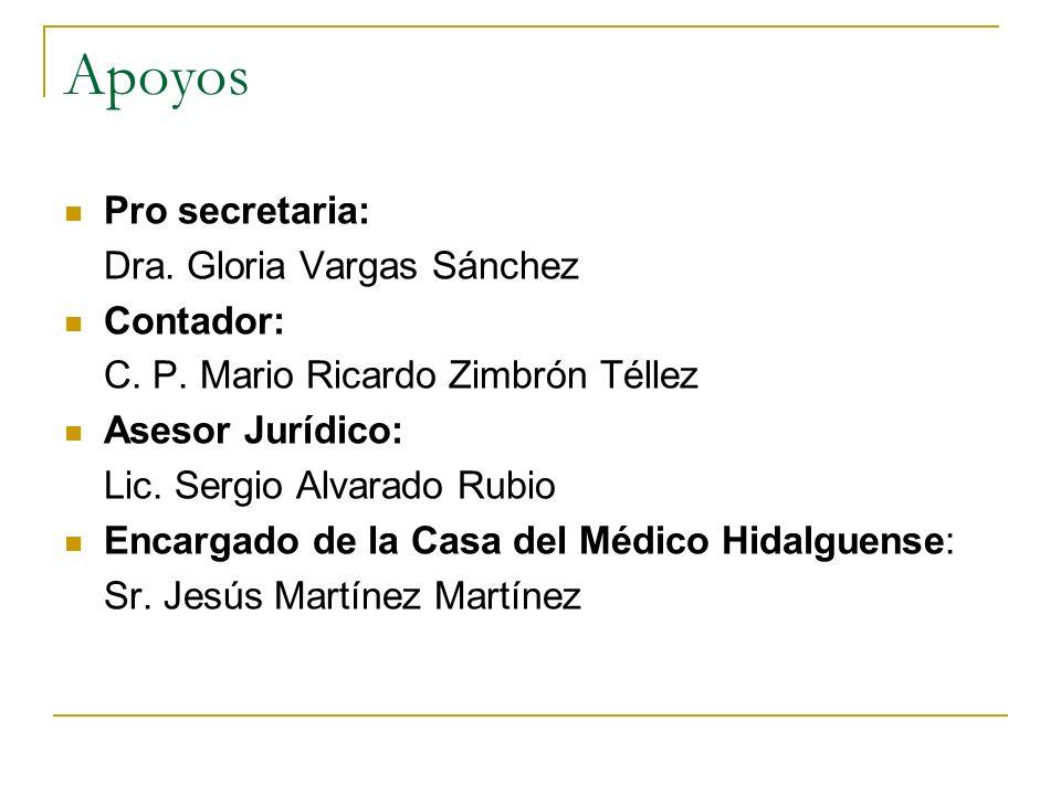 Apoyos Pro secretaria: Dra. Gloria Vargas Sánchez Contador: C. P. Mario Ricardo Zimbrón Téllez Asesor Jurídico: Lic. Sergio Alvarado Rubio Encargado d
