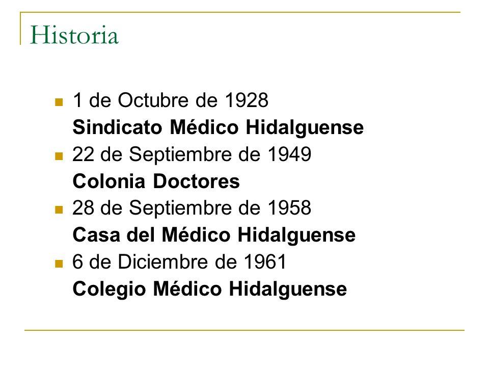Historia 1 de Octubre de 1928 Sindicato Médico Hidalguense 22 de Septiembre de 1949 Colonia Doctores 28 de Septiembre de 1958 Casa del Médico Hidalgue
