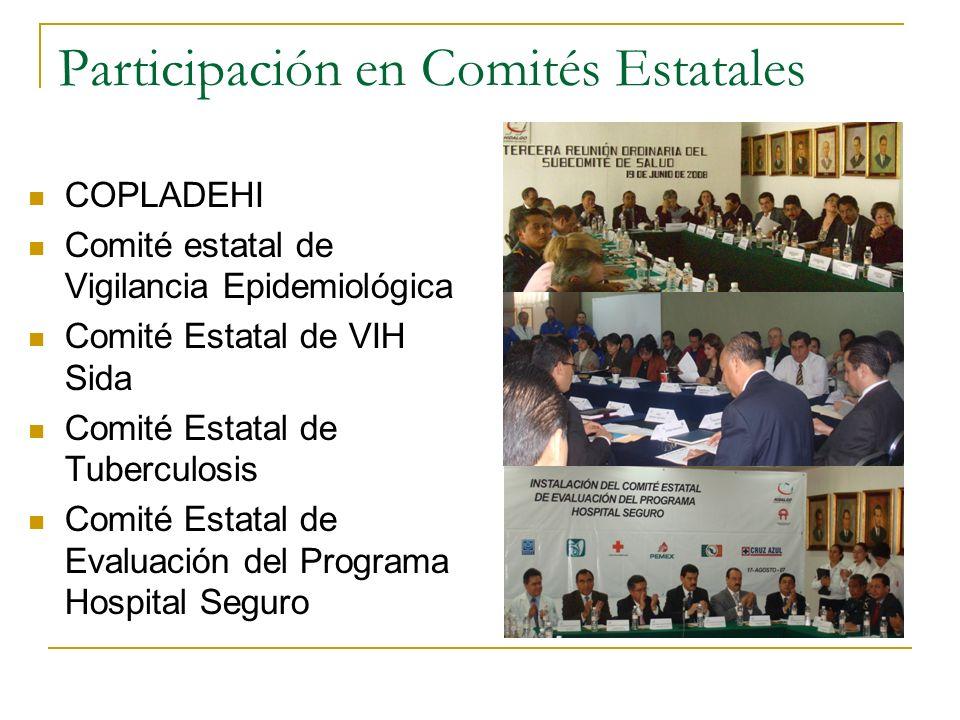 Participación en Comités Estatales COPLADEHI Comité estatal de Vigilancia Epidemiológica Comité Estatal de VIH Sida Comité Estatal de Tuberculosis Com