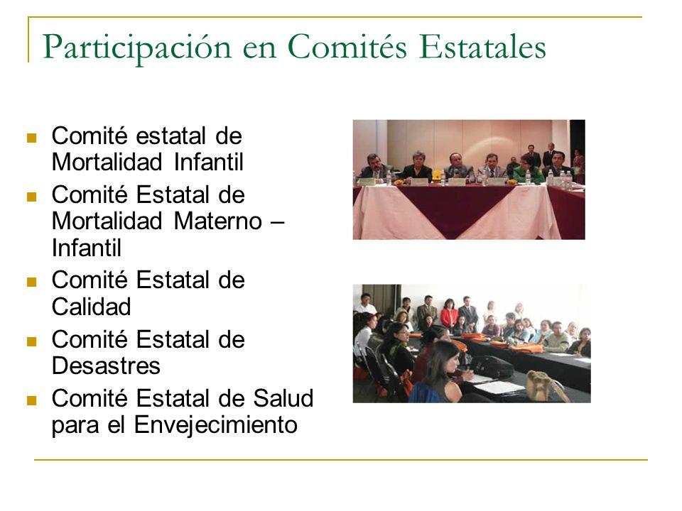 Participación en Comités Estatales Comité estatal de Mortalidad Infantil Comité Estatal de Mortalidad Materno – Infantil Comité Estatal de Calidad Com