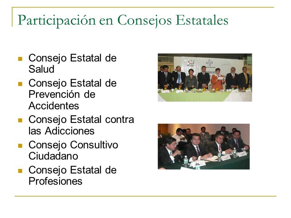 Participación en Consejos Estatales Consejo Estatal de Salud Consejo Estatal de Prevención de Accidentes Consejo Estatal contra las Adicciones Consejo