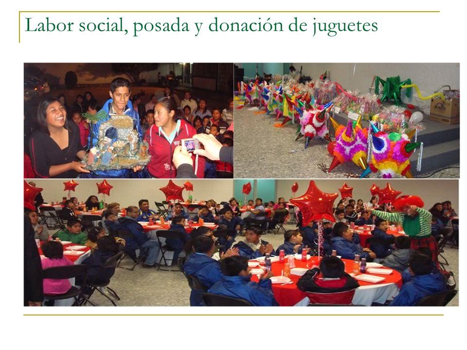 Labor social, posada y donación de juguetes
