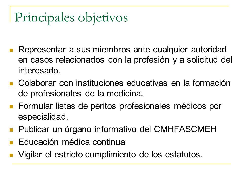 Principales objetivos Representar a sus miembros ante cualquier autoridad en casos relacionados con la profesión y a solicitud del interesado. Colabor