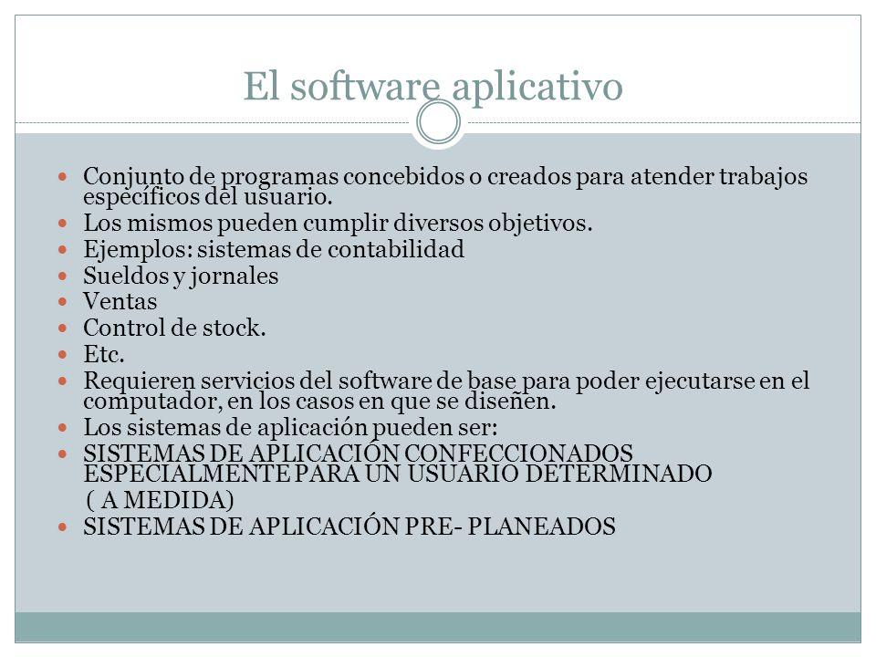 El software aplicativo Conjunto de programas concebidos o creados para atender trabajos específicos del usuario. Los mismos pueden cumplir diversos ob