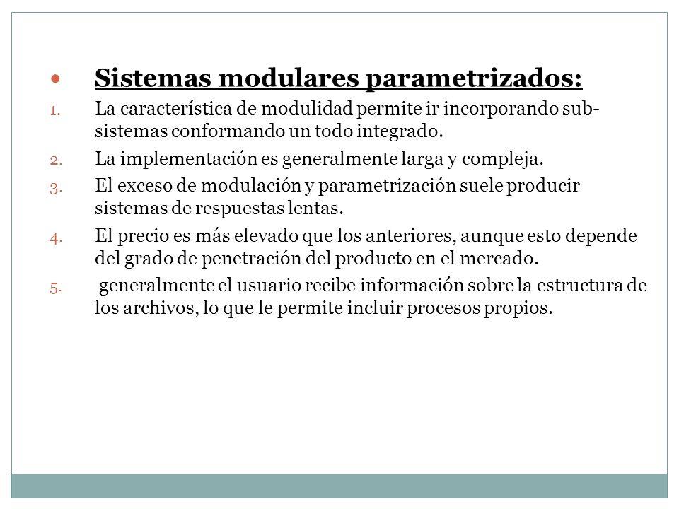 Sistemas modulares parametrizados: Sistemas modulares parametrizados: 1. La característica de modulidad permite ir incorporando sub- sistemas conforma