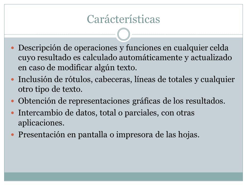 Carácterísticas Descripción de operaciones y funciones en cualquier celda cuyo resultado es calculado automáticamente y actualizado en caso de modific
