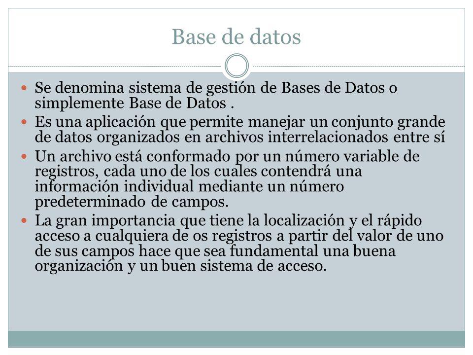Base de datos Se denomina sistema de gestión de Bases de Datos o simplemente Base de Datos. Es una aplicación que permite manejar un conjunto grande d