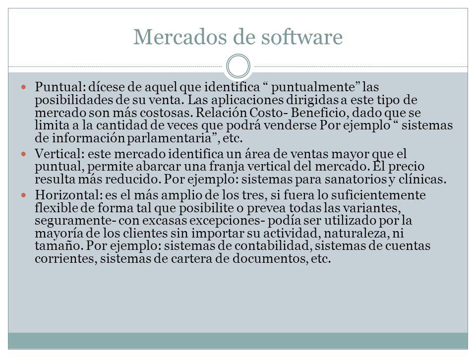 Mercados de software Puntual: dícese de aquel que identifica puntualmente las posibilidades de su venta. Las aplicaciones dirigidas a este tipo de mer