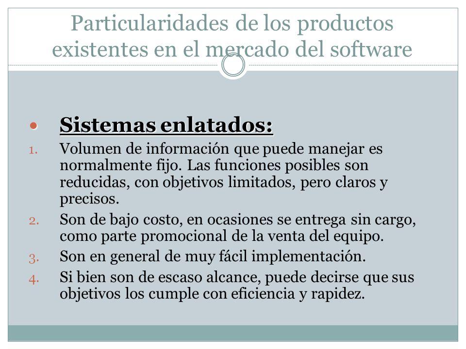 Particularidades de los productos existentes en el mercado del software Sistemas enlatados: Sistemas enlatados: 1. Volumen de información que puede ma