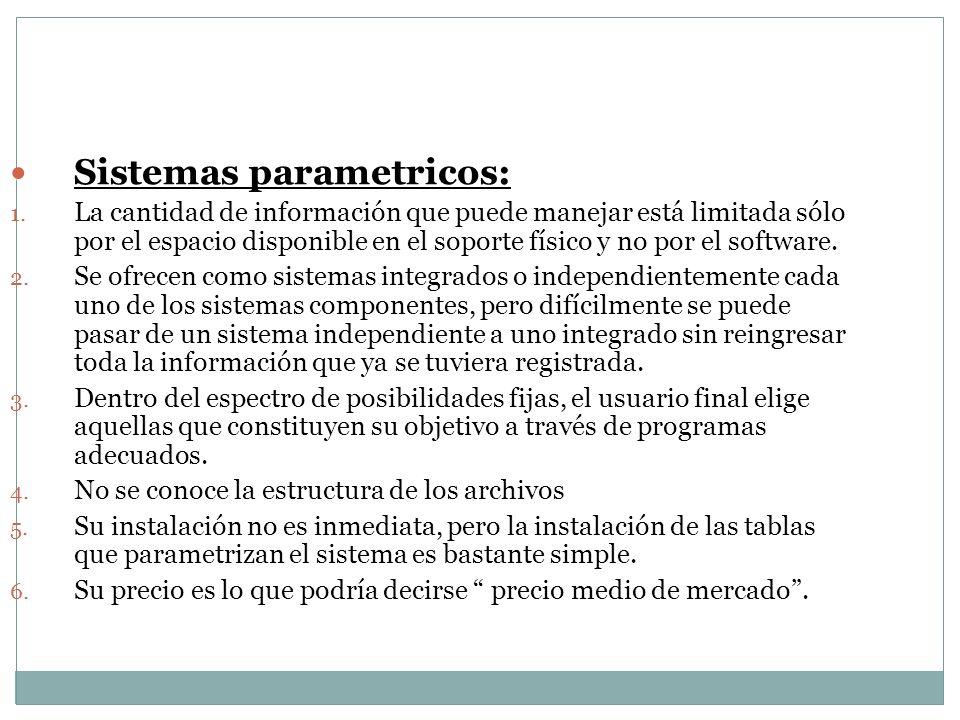 Sistemas parametricos: Sistemas parametricos: 1. La cantidad de información que puede manejar está limitada sólo por el espacio disponible en el sopor
