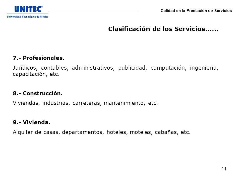 11 Calidad en la Prestación de Servicios 7.- Profesionales. Jurídicos, contables, administrativos, publicidad, computación, ingeniería, capacitación,