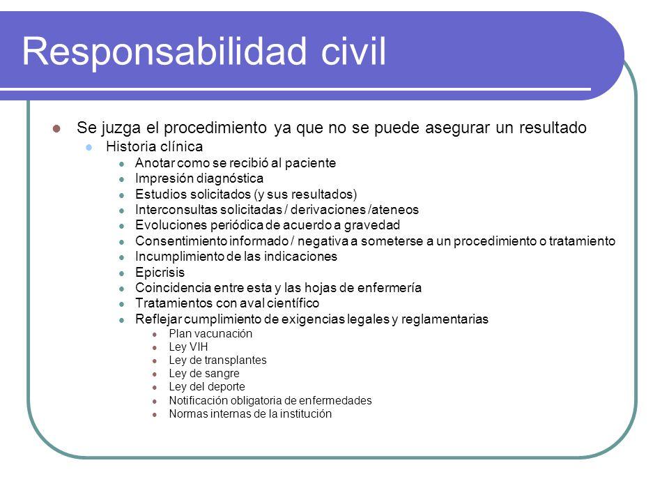 Responsabilidad civil Se juzga el procedimiento ya que no se puede asegurar un resultado Historia clínica Anotar como se recibió al paciente Impresión