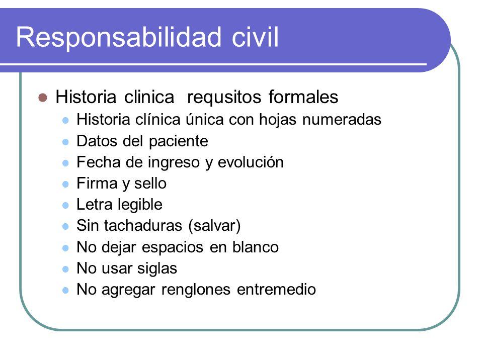 Responsabilidad civil Historia clinica requsitos formales Historia clínica única con hojas numeradas Datos del paciente Fecha de ingreso y evolución F
