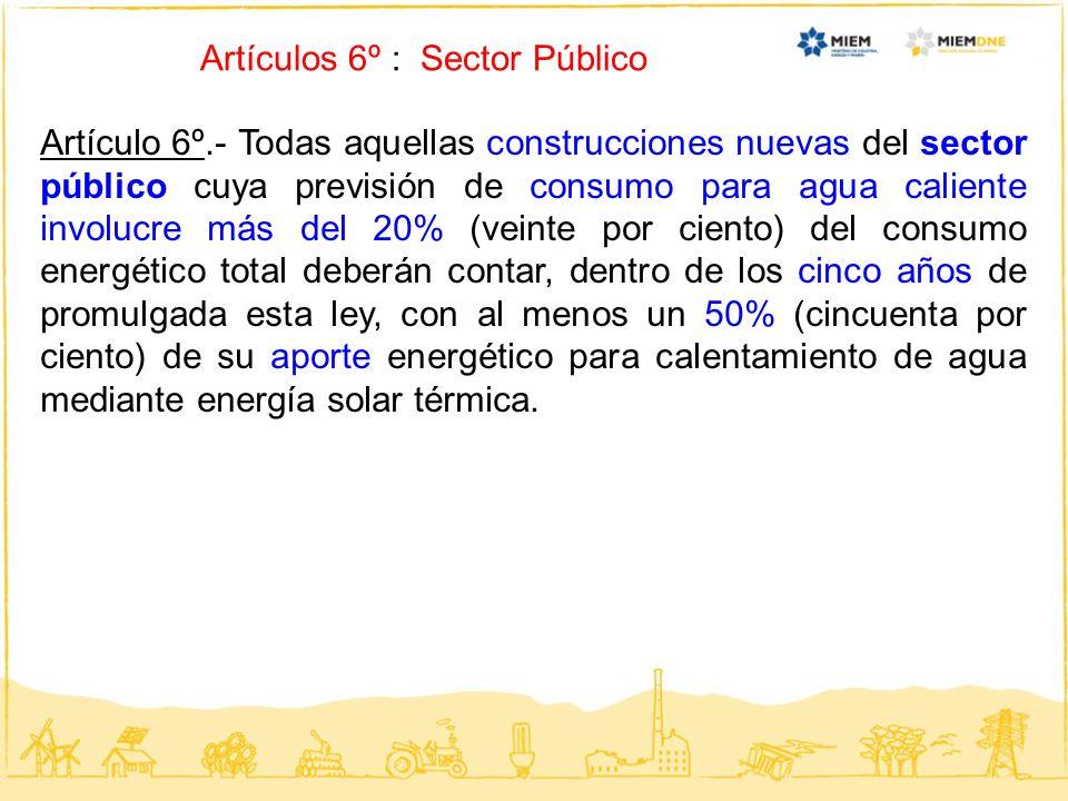Artículos 6º : Sector Público Artículo 6º.- Todas aquellas construcciones nuevas del sector público cuya previsión de consumo para agua caliente invol