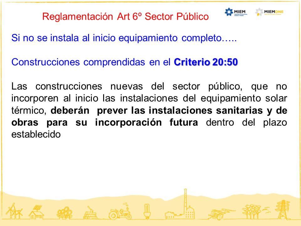 Reglamentación Art 6º Sector Público Si no se instala al inicio equipamiento completo….. Criterio 20:50 Construcciones comprendidas en el Criterio 20: