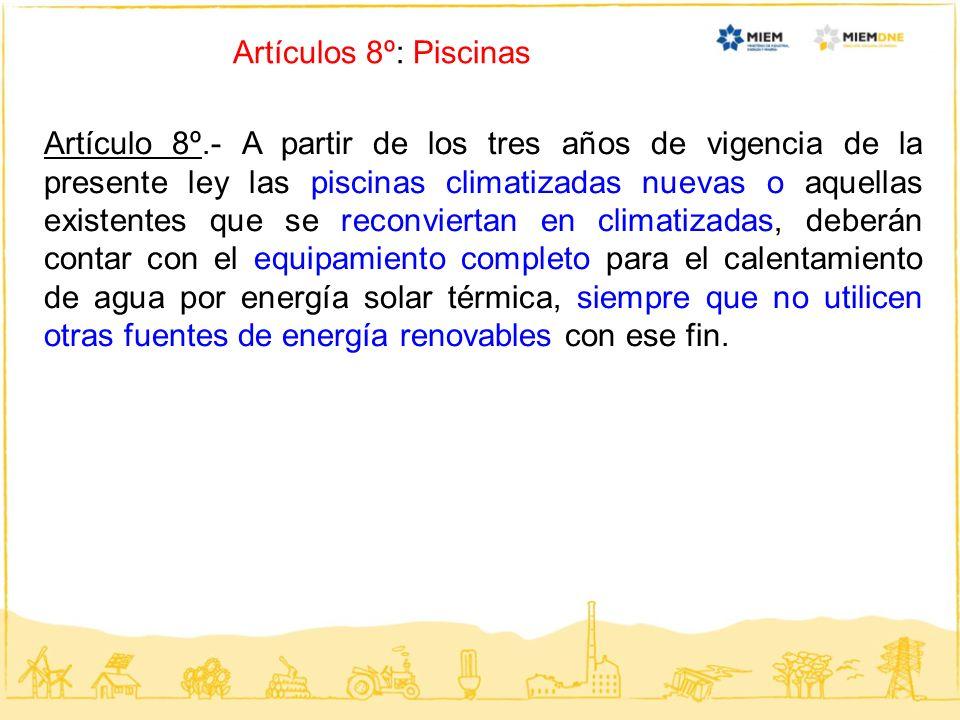 Artículos 8º: Piscinas Artículo 8º.- A partir de los tres años de vigencia de la presente ley las piscinas climatizadas nuevas o aquellas existentes q