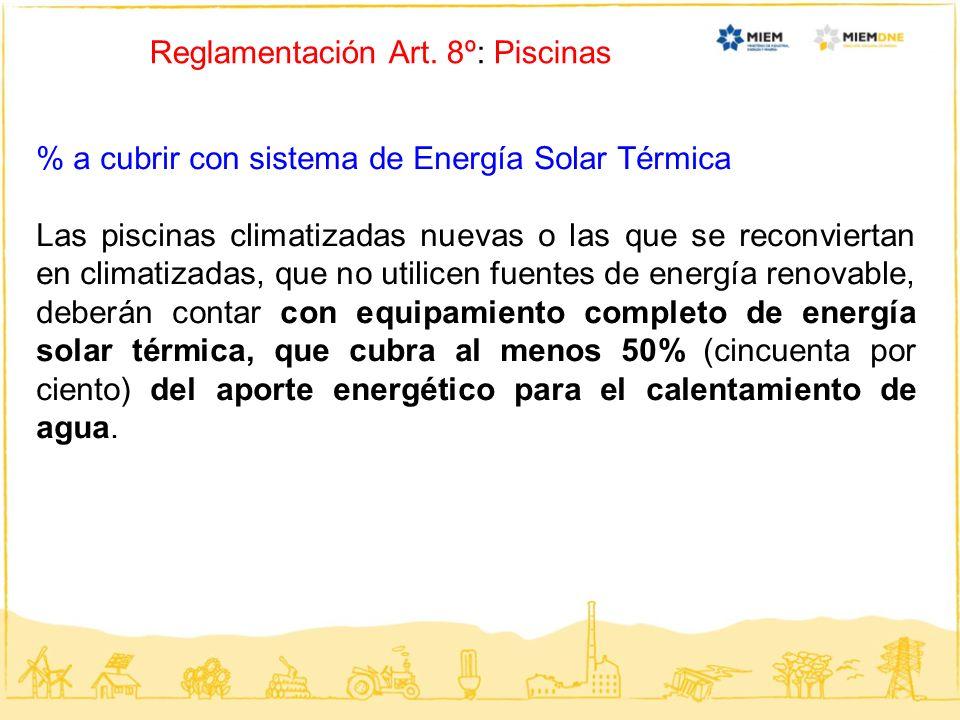 Reglamentación Art. 8º: Piscinas % a cubrir con sistema de Energía Solar Térmica Las piscinas climatizadas nuevas o las que se reconviertan en climati