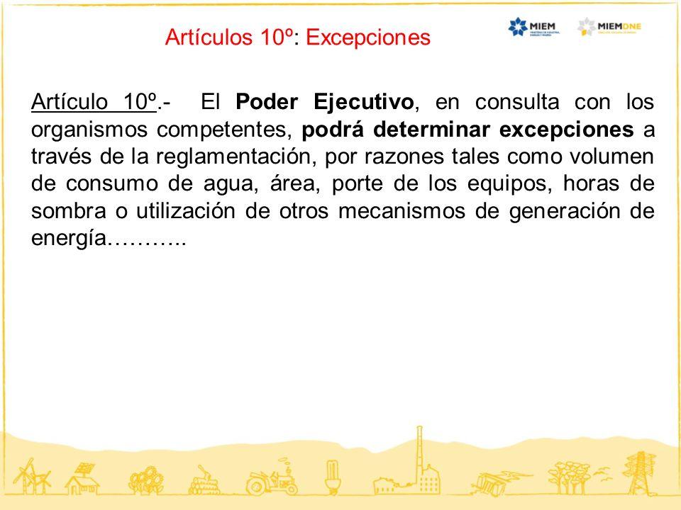 Artículos 10º: Excepciones Artículo 10º.- El Poder Ejecutivo, en consulta con los organismos competentes, podrá determinar excepciones a través de la