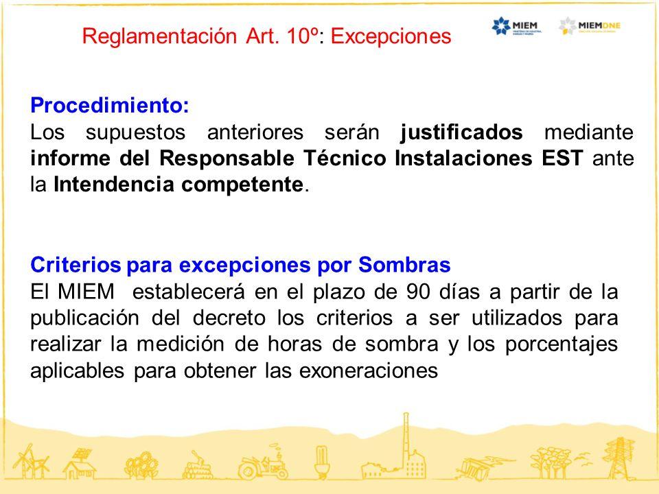 Reglamentación Art. 10º: Excepciones Procedimiento: Los supuestos anteriores serán justificados mediante informe del Responsable Técnico Instalaciones