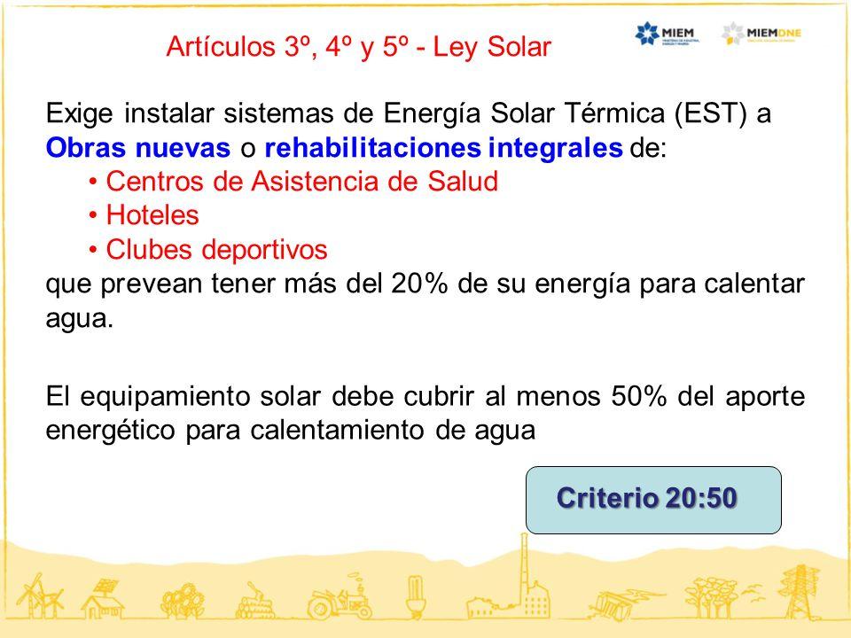Artículos 3º, 4º y 5º - Ley Solar Exige instalar sistemas de Energía Solar Térmica (EST) a Obras nuevas o rehabilitaciones integrales de: Centros de A