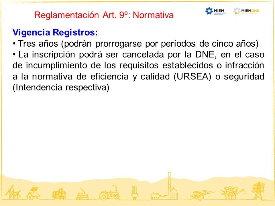 Reglamentación Art. 9º: Normativa Vigencia Registros: Tres años (podrán prorrogarse por períodos de cinco años) La inscripción podrá ser cancelada por