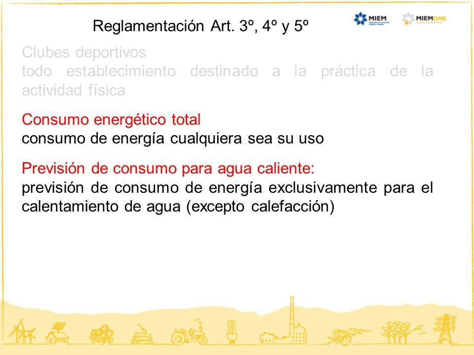 Clubes deportivos todo establecimiento destinado a la práctica de la actividad física Reglamentación Art. 3º, 4º y 5º Consumo energético total consumo