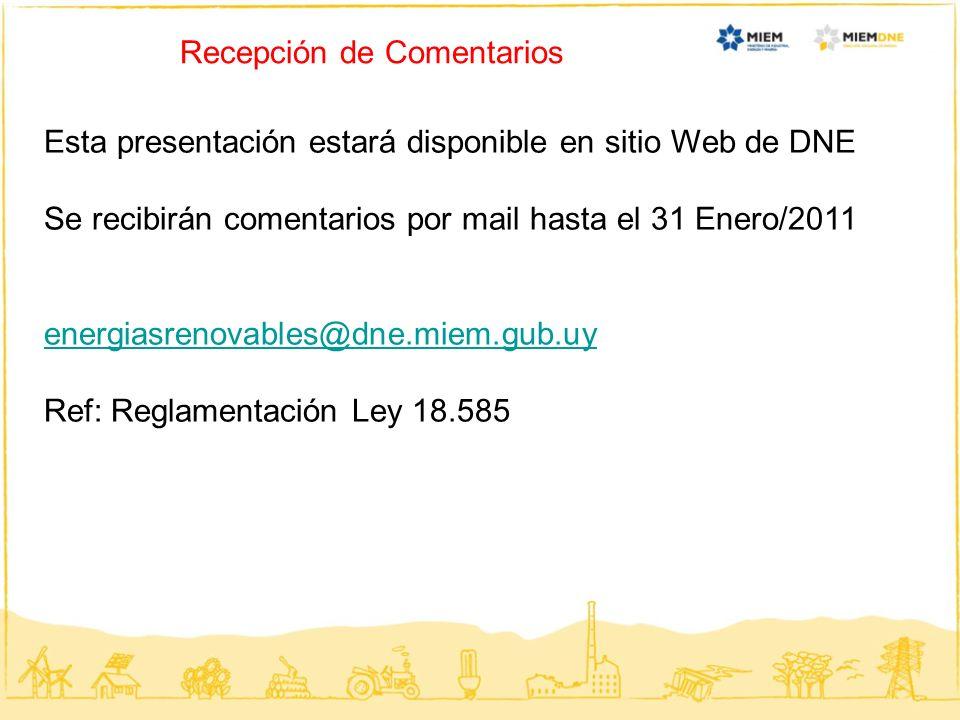 Recepción de Comentarios Esta presentación estará disponible en sitio Web de DNE Se recibirán comentarios por mail hasta el 31 Enero/2011 energiasreno