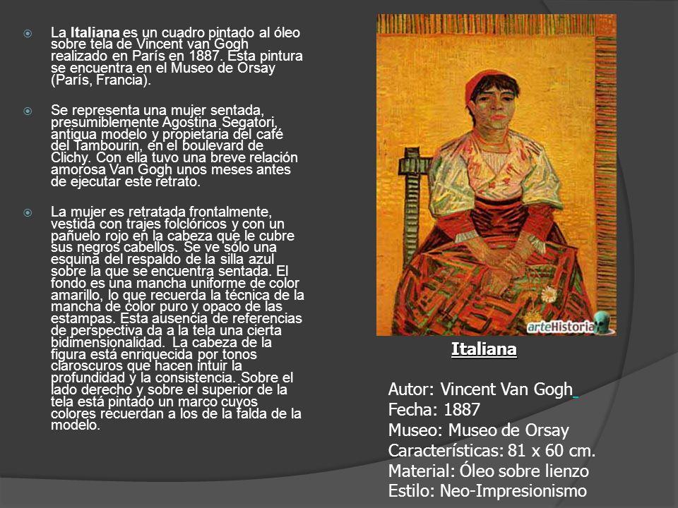 La Italiana es un cuadro pintado al óleo sobre tela de Vincent van Gogh realizado en París en 1887. Esta pintura se encuentra en el Museo de Orsay (Pa