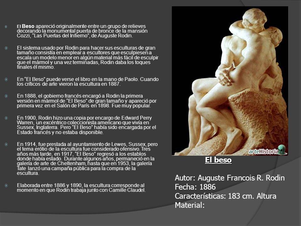 El Beso apareció originalmente entre un grupo de relieves decorando la monumental puerta de bronce de la mansión Cozzi, Las Puertas del Infierno, de A