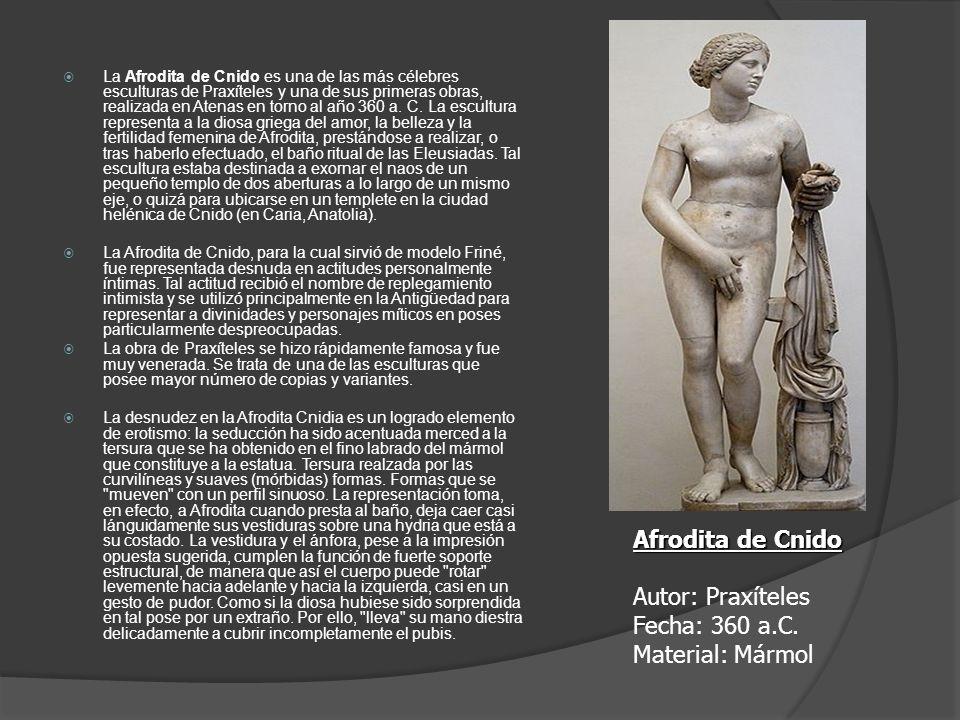 La Afrodita de Cnido es una de las más célebres esculturas de Praxíteles y una de sus primeras obras, realizada en Atenas en torno al año 360 a. C. La