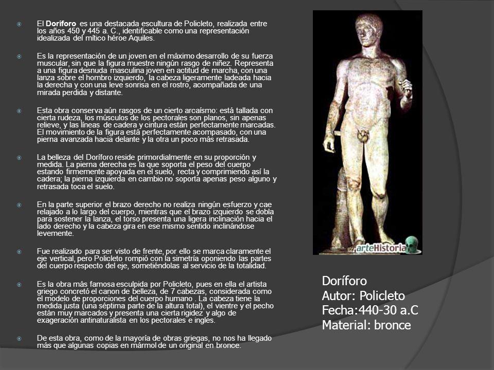 El Doríforo es una destacada escultura de Policleto, realizada entre los años 450 y 445 a. C., identificable como una representación idealizada del mí