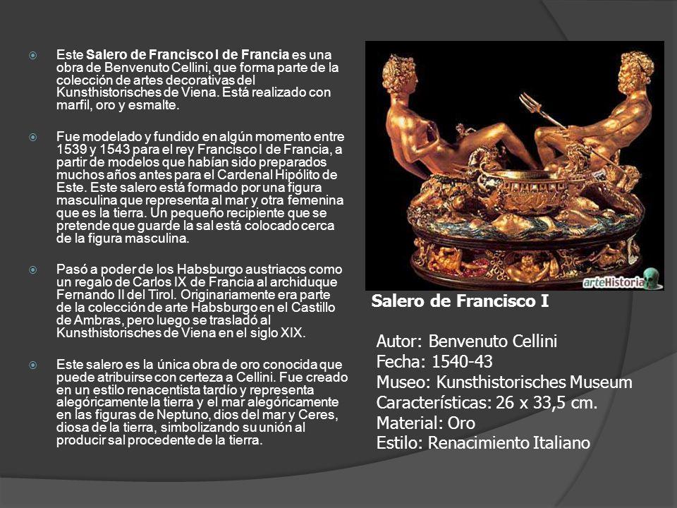 Este Salero de Francisco I de Francia es una obra de Benvenuto Cellini, que forma parte de la colección de artes decorativas del Kunsthistorisches de