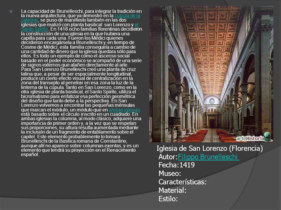 La capacidad de Brunelleschi, para integrar la tradición en la nueva arquitectura, que ya demostró en la cúpula de la catedral, se puso de manifiesto